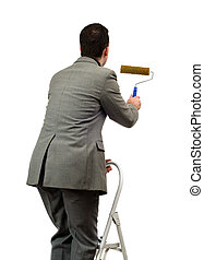 Man Painting Your Text - A young man wearing a suit is ...