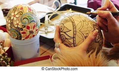 Man paints the Easter Egg - Master class on painting Easter...