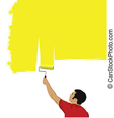 Man paints the wall brush. Vector i