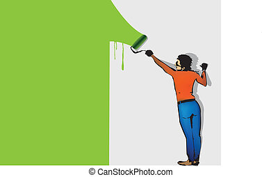 man paints the wall by roller