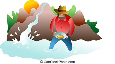 panning for gold - man panning for gold in a stream