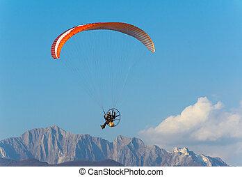 Man paragliding with Para-motor