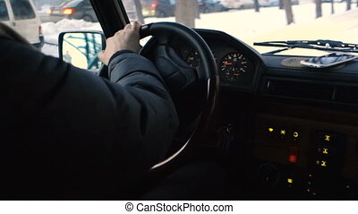 Man Park, hands and steering wheel closeup