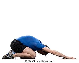man paschimottanasana yoga pose stretching posture workout ...