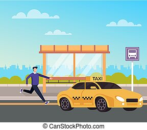 Man passenger character running to taxi car cab. Transportation concept. Vector flat cartoon graphic design isolated illustration