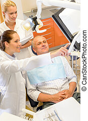 Man patient at dental consultation dentist surgery