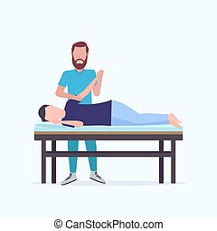 man patient lying on massage table masseur therapist doing healing treatment massaging injured hand manual sport physical therapy rehabilitation concept full length