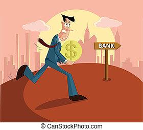 man paying loan in bank - man walking with money towards...