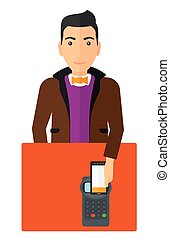 Man paying using smartphone.