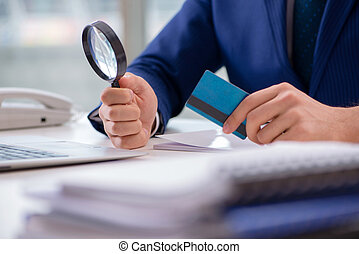 Man paying with credit card online