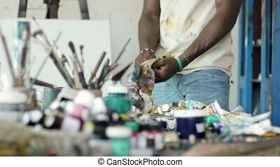 Man People At Work In Art Studio