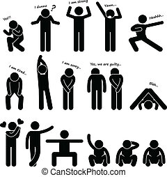 A set of stick figure people pictograms representing man basic posture and gesture.