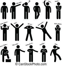 Man People Posture Body Language - A set of stick figure...