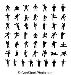 Man people stick icon set, simple style - Man people stick...