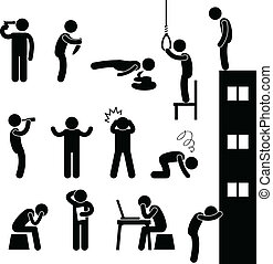Man People Suicide Kill Depress Sad - A set of human figure...