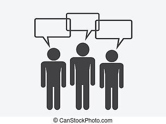 Man People Thinking Talking Conversation Icon Symbol Sign Pictogram
