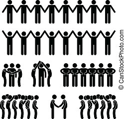 A set of people pictogram representing people's united and community.