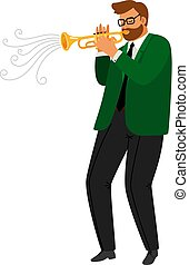 Man performance musical blues, jazz trumpeter vector