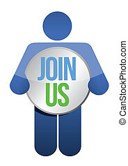 "man, person with a button "" Join us"". Businessman"