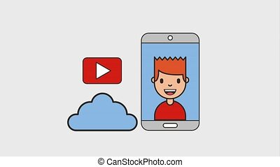 man phone cloud storage video favorite net work animation hd