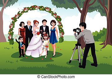 A vector illustration of man photographing a family in a wedding