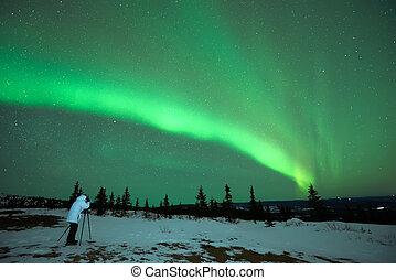 Man photographing the Aurora