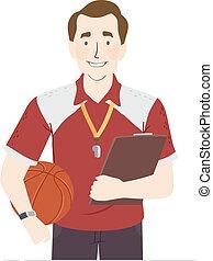 Man Physical Education Teacher Illustration - Illustration ...