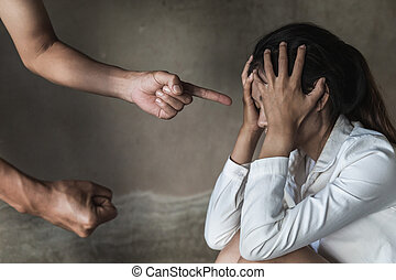 Man physically abusing his girlfriend, help victim of domestic violence, Human trafficking, stop physical abuse women concept