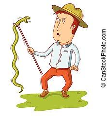 man pick up a snake
