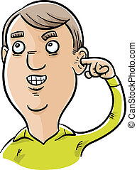 Man Picking His Ear - A cartoon man picking his ear with his...