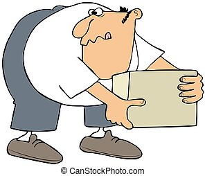 This illustration depicts a man bending over to pick up a box.