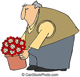 This illustration depicts a chubby man picking up a potted plant.
