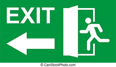 man, pictogram, afslaf, symbool., deur, vector, evacuatie, veiligheid, rennende , teken., ontsnapping, helpen