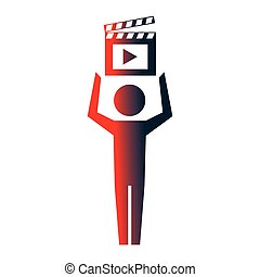 man pictogram film movie clapper board