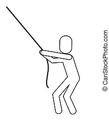 man pictogram pulling rope icon