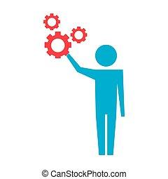 man pictogram with gears mechanic wheels