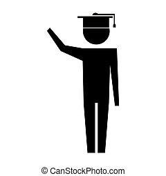 man pictogram with graduation hat education