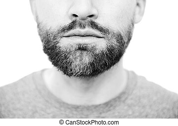Man with beard on the wite background