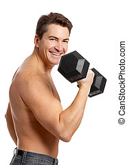 Man - Smiling strong  man. Isolated over white background
