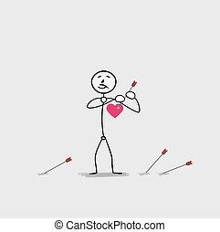 man piercing heart by an arrow