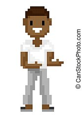 Man Pixel Character Shooting, Old Game Vector