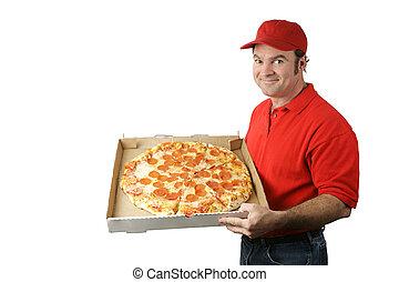 man, pizza, bezorgt