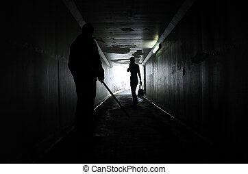 man, plågande, a, kvinna, in, a, mörk, tunnel