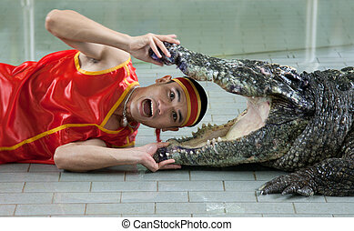 Thai man in red cloth places head in mouth crocodile
