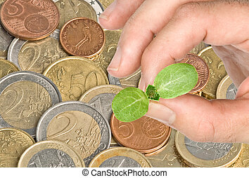 Man planting a seedling to coins