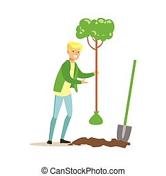 Man Planting A Tree , Contributing Into Environment Preservation By Using Eco-Friendly Ways Illustration