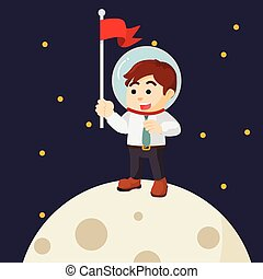 Man planting flag on moon