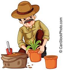 Man planting plant in the pot illustration