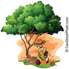 Man planting tree in the garden