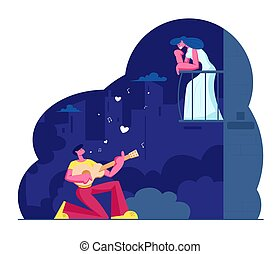 Man Play Guitar Sing Song to Woman on Balcony. Guitarist Serenade at Moonlight on Night City Street. Girl Listen Music. Couple Love Relationship, Romantic Evening Date Cartoon Flat Vector Illustration